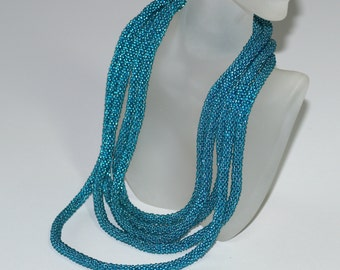 Pacifica ... Bead Crochet . Bead Crochet Necklace . Bead Crochet Rope . Turquoise . Teal . Infinity Wrap . Fashion . Stylish Neckwear . Chic