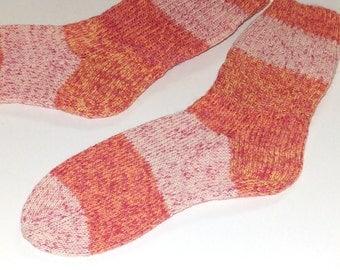 SALE . Knit socks . Hand knit socks . Striped adult socks . Opal wool blend socks . Knit socks . Wool socks . Handmade in Canada . Medium