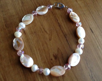 Mother of Pearl, Pearl and Crystal Bracelet