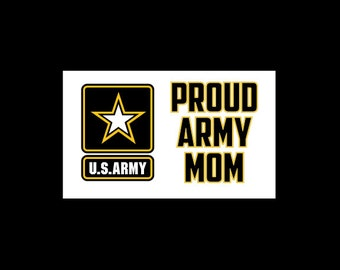 Proud Army Mom Vinyl Bumpersticker Decal