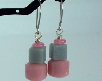 Little Cakes - Vintage Glass Bead And Stainless Steel Earrings SRAJD