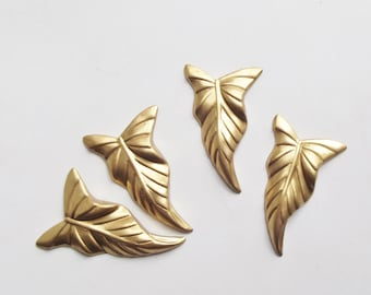 Vintage brass leaf stampings