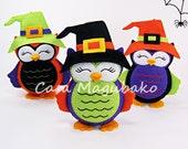 Halloween Owl Ornament Digital Pattern - Hand-Stitched Owl DIY - PDF File - Instant Download