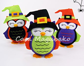 Halloween Owl Ornament Digital Pattern - Hand-Stitched Owl DIY - PDF File - Instant Download