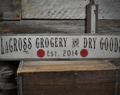 Custom Groceries & Dry Goods Sign - Rustic Hand Made Vintage Wooden Sign ENS1000445