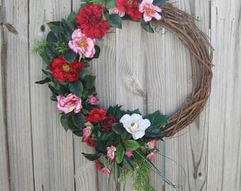 Rose Wreath - Rose Grapevine Wreath - Front Door Wreath-  Year Round Wreath-  Porch Wreath-  Wall Wreath - Wreath Gift