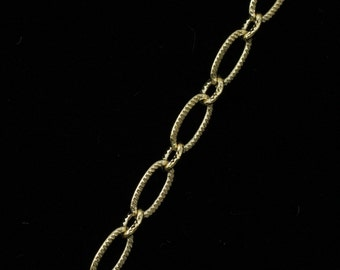 Bright Gold, 6.4mm x 3mm Textured Oval Chain CC174