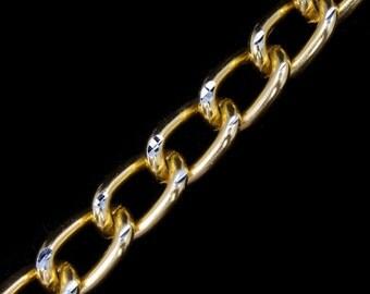10mm Gold/Silver Diamond Cut Aluminum Curb Chain #CCB023
