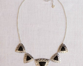SALE . armoured . cobalt // triangle necklace . gold statement necklace . geometric jewelry . navajo inspired jewelry