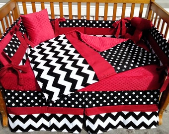 Custom new 7 piece POLKA DOT and CHEVRON black and white w/ red  full Crib Bedding Set