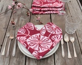 deep red lilypad batik napkins