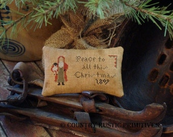 Primitive Peace To All This Christmas Pillow Tuck Cross Stitch E Pattern PDF