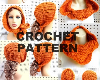 SCHABEOD Hooded Cowl Pattern,  Cowl Scarf Pattern,  Crochet Hood,  Hooded Scarf,  Crochet Pattern