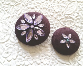 2 embellished buttons, purple buttons,  fabric covered buttons