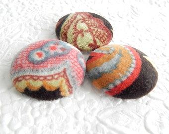 Brown multi buttons, fabric buttons, velveteen button, size 60 buttons, set of 3 buttons