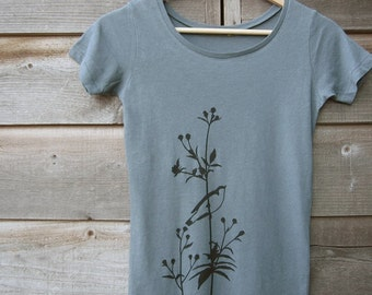 Womens Graphic Tee - Organic Cotton T Shirt - Ocean Blue T Shirt - Bird Shirt - Flower Shirt - Womens Tee Shirt - Organic Cotton Clothing