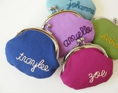Personalized coin purse - custom embroidery pick your color bridesmaids gift birthday name personalized gift change purse custom letters