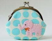 Elephant coin purse change purse kiss lock coin purse elephant purse - pink elephant on aqua blue dots pastel kawaii animal light blue