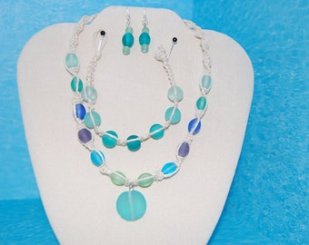Macrame and Sea Glass Necklace, Bracelet and Earring Set