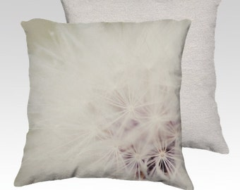 photography pillow cover , throw pillow, decorative pillow cover , white home decor, dandelion pillow cover, flower photograph