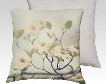 photography pillow cover, decorative pillow, throw pillow, flower photograph, dogwood pillow, white decor