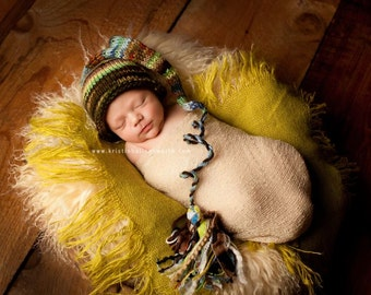 Knit Newborn Baby Boy Hat BaBY PHoTO PRoP Brown Teal Green Tassel Stocking Hat CoMiNG HoME BeanIe CRaZY PaTCH MuNCHKiN Toque PiCK CoLOR Gift