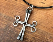 Horseshoe Nail Double Cross Pendant/Necklace