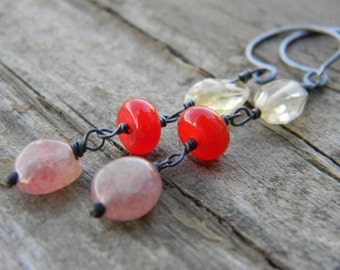 lepidocrocite, red quartz and citrine earrings - dangle - oxidized silver