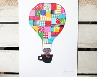 Elephant in hot air balloon with teacup - art print