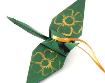 Large Gold Cherry Blossoms on Forest Green Origami Crane Ornament, Handpainted Home Decor