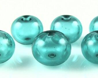 Mini Light Teal Hollow Lampwork Glass Bead Set (6)