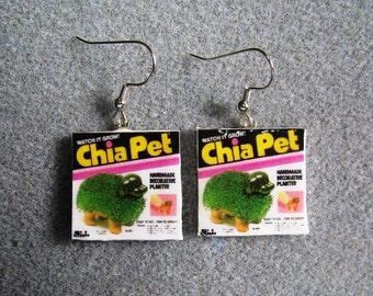 Chia Pet Kitsch Dangle Polymer Clay Junk Food Earrings Hypo Allergenic Nickle-Free