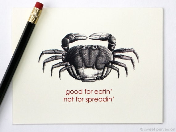Funny Greeting Card. Good For Eatin'. Crab Card. Snarky Greeting Card. Humorous Card.