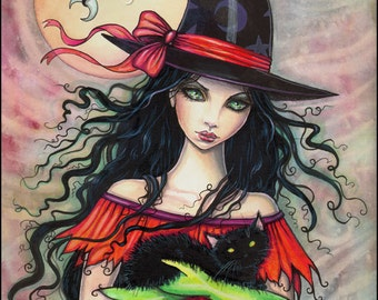 "Halloween Witch and Black Cat Fine Art Print by Molly Harrison 'Autumn Mischief"" 5 x 7"