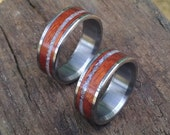 Titanium Wedding Rings - Rosewood Ring - Pearl Ring - Wood Ring - Mens Ring - Womens Ring - Handmade Ring - His and Hers Set - Pearl Ring