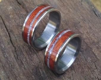 Titanium Rings, Wedding Rings, Wood Rings, Wood Wedding Rings, His and Hers Rings, Wedding Ring Set, Rosewood Ring, Pearl Ring, Handmade