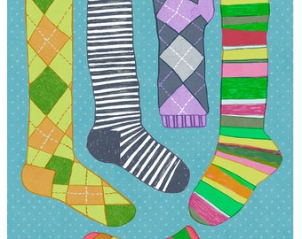 Argyle and Striped Socks art - 9x12 print