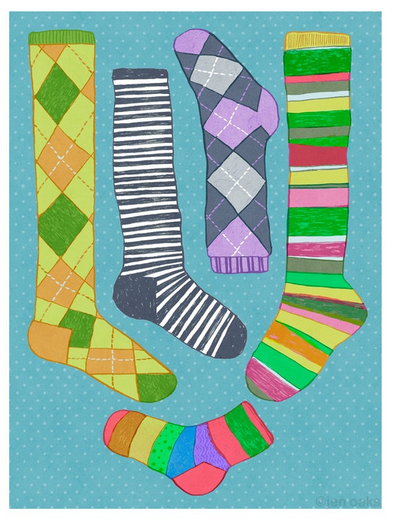 Argyle and Striped Socks art - 9x12 print