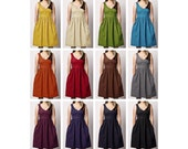 Custom Linen blend V-Neck Dress with Pockets  - COLOR OPTIONS