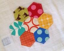 Hexagon flower dish towel or tea towel number six
