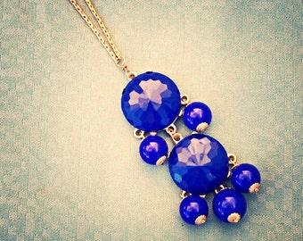 Royal Blue Chandelier Bubble Necklace - Double Chandelier Pendant Chain - Solid Brass Chain