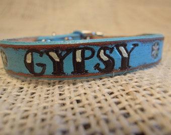 Custom Leather Distressed Turquoise Collar Tattoo Font