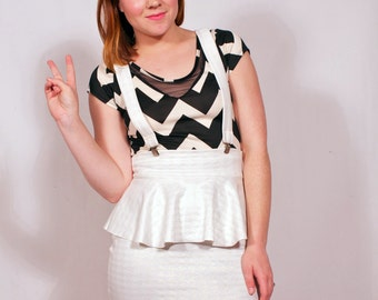 White Houndstooth Suspender Ruffle Skirt MADE TO ORDER