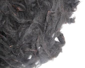 Black Washed Alpaca Fleece, Soft Crimpy Fleece, Alpaca Wool, Spin or Felt,  4.2 ounces - from Kingsford