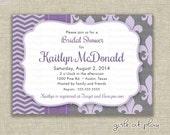Bridal Shower Invitation French Fleur de Lis Chevron Purple Gray  PRINT BY YOU girlsatplay girls at play