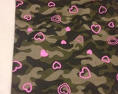 Poly Knit Camo Hearts  Pattern 1/2 Yard Remnant