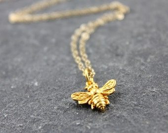 BEE MINE, bee solid gold necklace, 14K gold, 24k gold plated, sterling silver