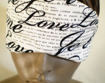 Love Sleep Mask French Script Black And White Cotton Eye Mask Handmade Luxury Padded With Lace Print Backing