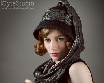 Black Cloche 1920s Hat - Industrial Waste Cloche