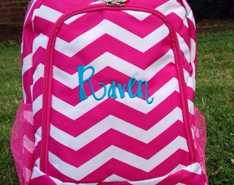 SALE Popsicle Pink Chevron Backpack Monogrammed Name or Initials of Your Choice